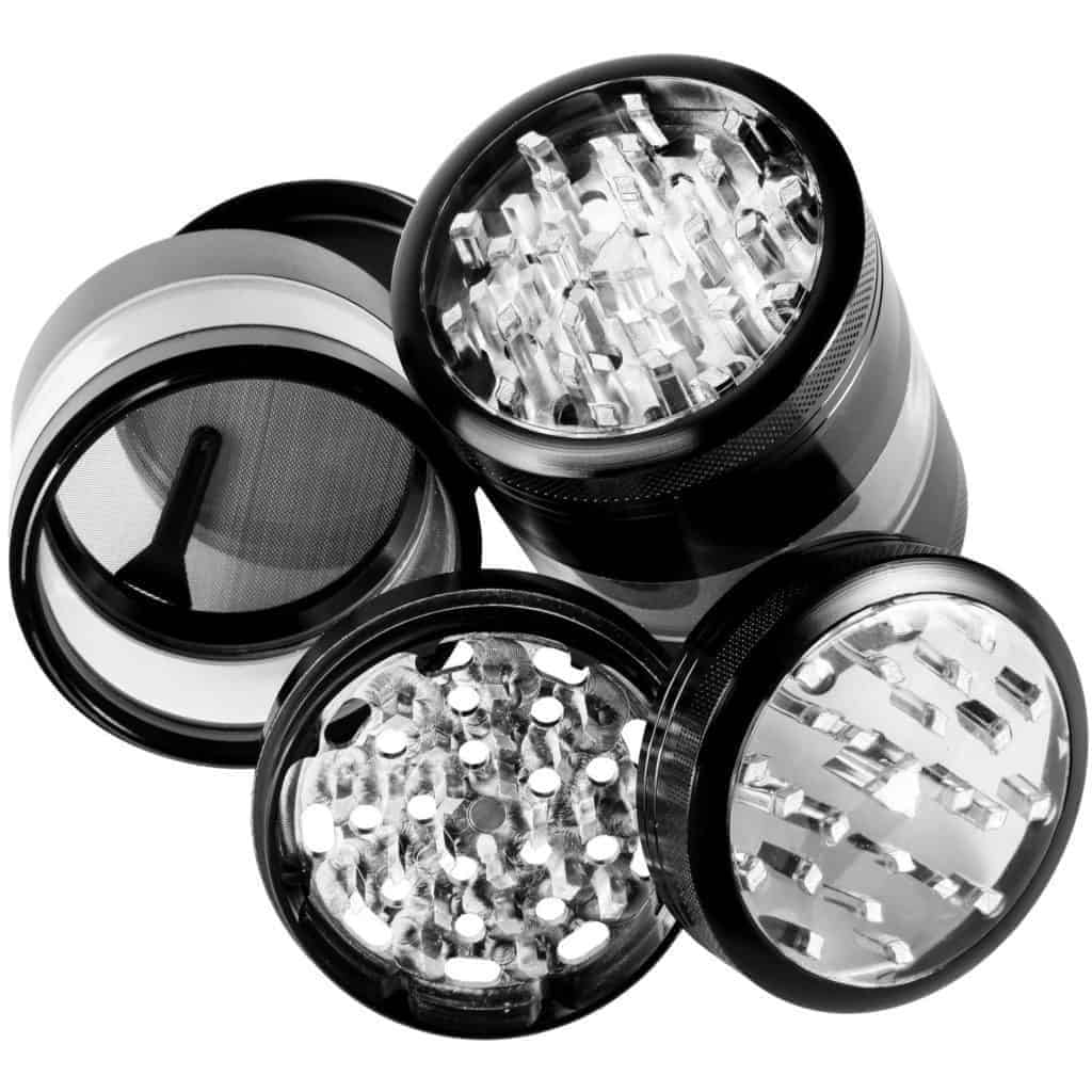 "Zip Grinders - Large Herb Grinder - Four Piece with Pollen Catcher - 3.25 Inches Tall - Premium Grade Aluminum (2.5"", Black)"