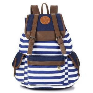 Rbenxia Canvas Stripe Backpack School Bag School College Bag Unisex