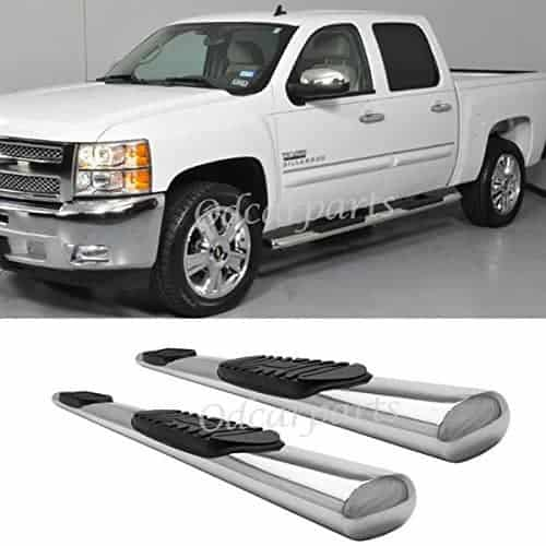 "Rocker Panel Mount:07-16 Silverado/Sierra 1500/2500/3500 Crew Cab (w/ 2 Full Size Front Doors + 2 Full Size Rear Doors,Exclude Diesel) 4"" S/S Oval Tube Side Step Rails Nerf Bar Running Boards"