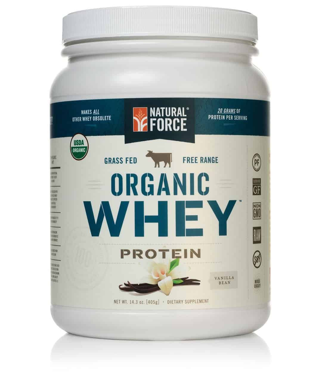 Natural Force® Organic Whey Protein Powder Grass Fed Whey – Undenatured Whey Protein – Raw Organic Whey, Paleo, Gluten Free Natural Whey Protein, Vanilla Bean, 14.3