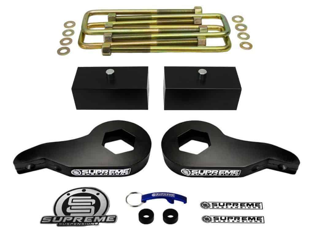 "Supreme Suspensions - Silverado Lift Kit Adjustable 1 - 3"" Front Suspension Lift High-Strength Carbon Steel MAX-Torsion + 2"" Rear Suspension Lift T6 Aircraft Billet Chevy Silverado Leveling Kit 4WD"