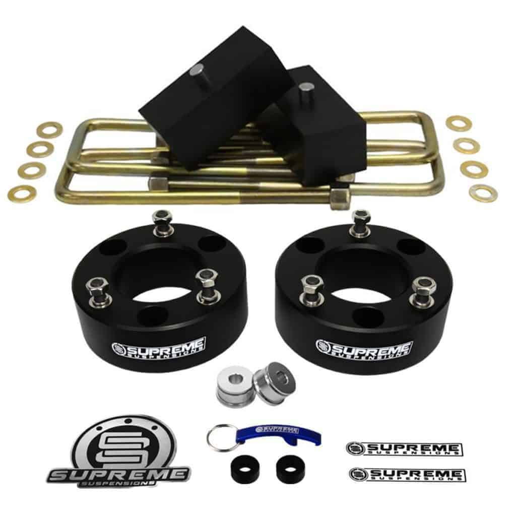 "Supreme Suspensions - Silverado Lift Kit Full Suspension Lift 3"" Front Suspension Lift Silverado Leveling Kit CNC Machined Aircraft Billet Strut Spacers (Black) + 1"" Solid Rear Suspension Lift Blocks (Black) Easy Install Chevy Silverado 1500 Lift Kit PRO"